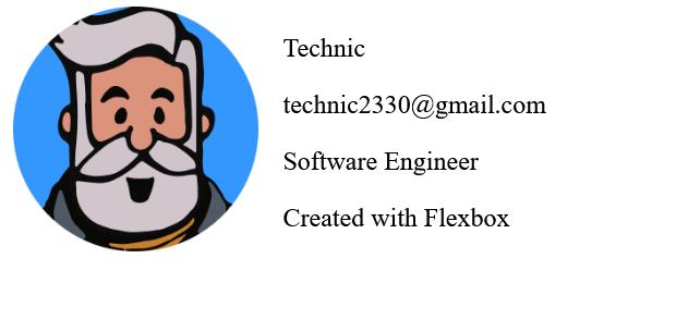 flexbox text next to image HTML