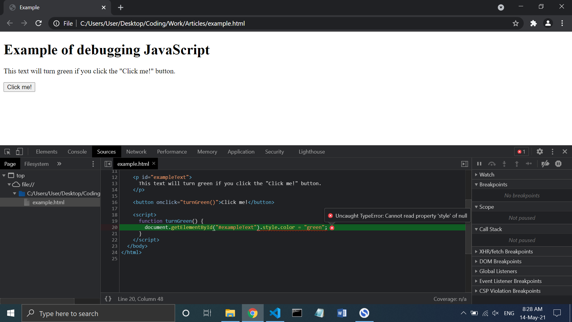 """""""Source of a bug displayed on Chrome Developer Tool"""